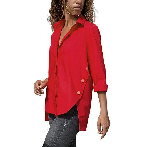 Blouse Unie Sweatshirts Col Automne Rond Top et Chemise Shirt paule Mode t Vetements Crop Haut Couleur Longue Manches T Chic Top Dcontracte Femmes Sexy Lache Rouge Overmal Irrgulier xwHqCS4