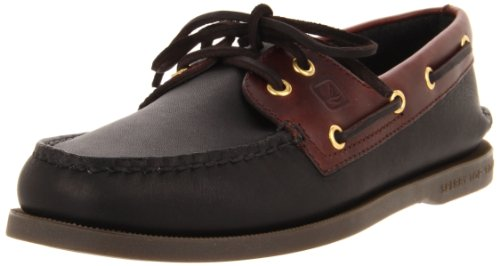 (Sperry Top-Sider Men's A/O 2-Eye Boat Shoe, Black/Amaretto, 10.5 W US)