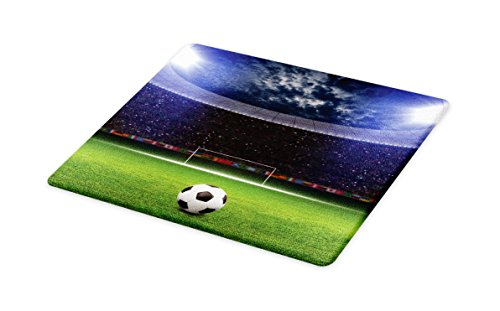 Lunarable Sports Cutting Board, Soccer Ball on Stadium Arena in the Night Illuminated Cheering Fans Green Field, Decorative Tempered Glass Cutting and Serving Board, Small Size, Navy Blue Green by Lunarable