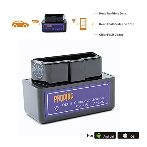 PRODIAG Mini WiFi OBD2 OBDII EOBD Scanner Scan Tool Adapter Check Engine Light Diagnostic Trouble Code Reader for iOS iPhone and Android(WiFi for iOS & Android)