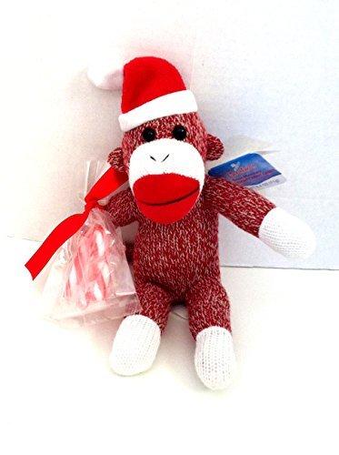 Christmas Holiday Santa Sock Monkey with Candy Cane