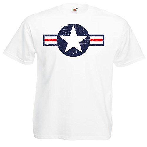 Hotrod Tshirt mit Oldschool Air Force Us Army Stern Tolles Geschenk für Jeep Fans Vintage Weiß