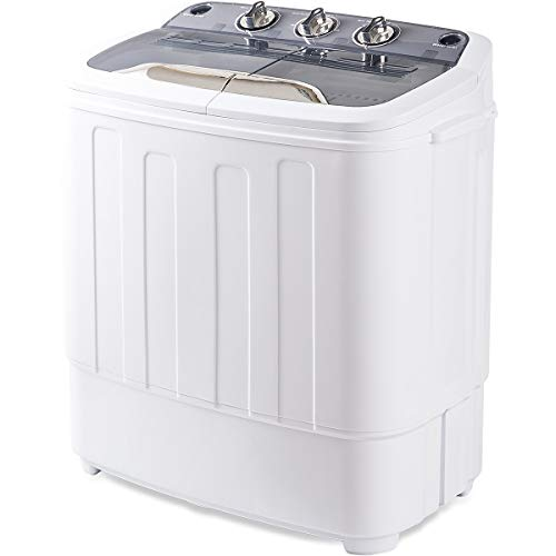 Merax Portable Washing Machine Mini Compact Twin Tub Washer Machine with Wash and Spin Cycle, FCC Verification Approved (Light Gray Twin Tub)