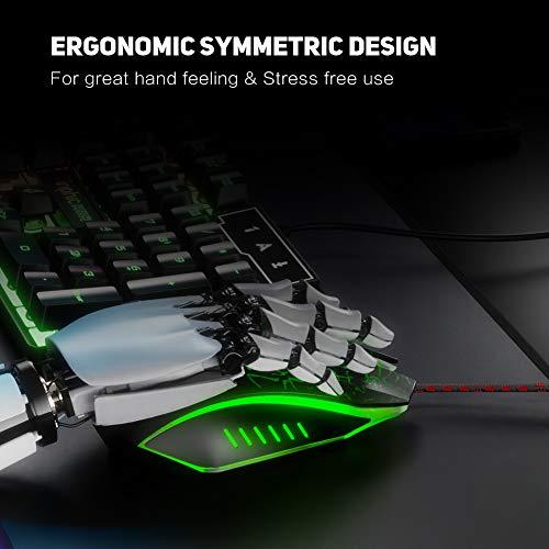 INPHIC Souris USB Filaire, 3200 DPI, 6 Boutons programmables, ergonomie, 4 LED de Respiration rétroéclairées, Souris Filaire pour PC, Compatible avec Windows 7/8/10 / XP/Vista