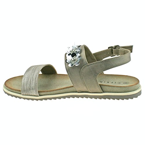 Flower Shimmer Stone OR Cipriata 41 Buckle 8 L175 Sandals Ladies KD EU Black Stone UK wgI5fXq