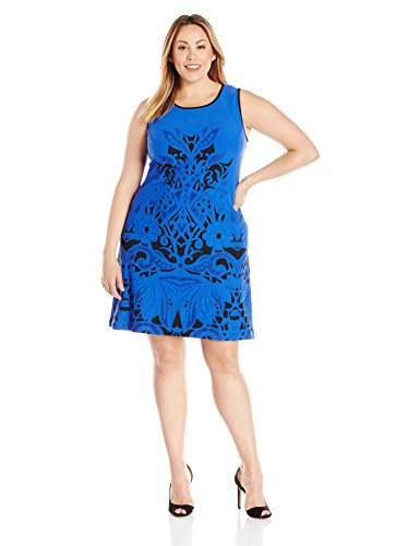 Julia Jordan Women's Plus Size Geo Dress, Black/Cobalt, 20W by Julia Jordan