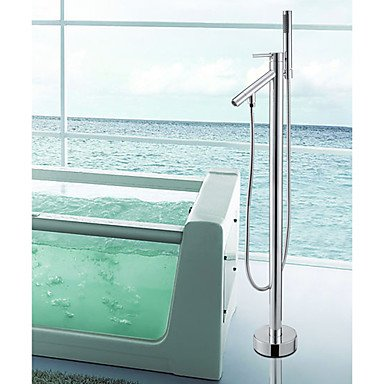 HFaucet® Bathtub tap Contemporary Handshower Included Floor Standing Brass Chrome