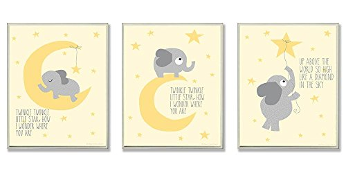 The Kids Room by Stupell Twinkle Twinkle Little Star Grey Elephant On Yellow 3-Pc. Rectangle Wall Plaque Set, 11 x 0.5 x 15, Proudly Made in USA
