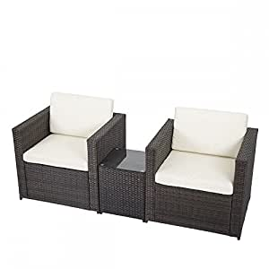 Outdoor 3 PCS Patio Sofa Set Sectional Furniture PE Wicker Rattan Deck Couch F5 Weather-Resin Wicker Ideal For Patio, Porch, Poolside