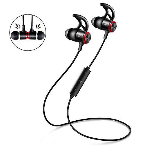 Bluetooth Headphones Sport, Wireless In-Ear Noise Cancelling Earphone Secure Fit Rich Bass HD Stereo Earbuds Mic Hands-free Calling Magnetic Neckband Headset for Running Gym Exercise (Black+Red)