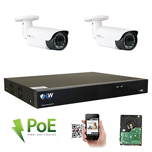 Cheap GW Security 8 Channel 4K NVR HD 1920P IP PoE Security Camera System with 2 Outdoor /Indoor 2.8-12mm Varifocal Zoom 5.0 Megapixel 1920P Cameras, QR Code Easy Setup, Free Remote View