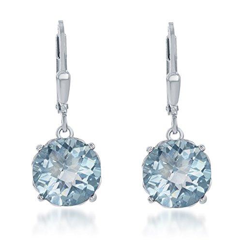 Sterling Silver Circle Blue Topaz Dangle Earrings
