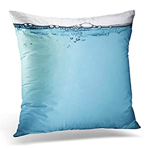 Golee Throw Pillow Cover Pink Liquid Water with Bubbles Blue Glass Bottle Decorative Pillow Case Home Decor Square 20x20 Inches Pillowcase