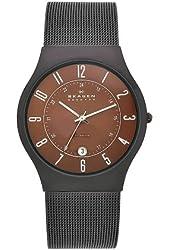 Skagen Men's 233XLTMD Denmark Silvertone Mesh Brown Dial Watch