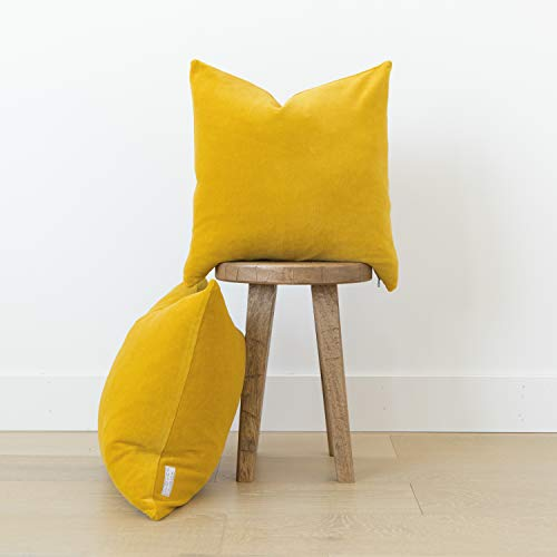 Woven Nook Decorative Velvet Throw Pillow Covers ONLY Set of 2 18x18'' and 22x22' 'for Couch, Sofa, or Bed Modern Quality Design Velvet (22'' x 22'', Mustard Yellow) (Velvet Yellow Couch)