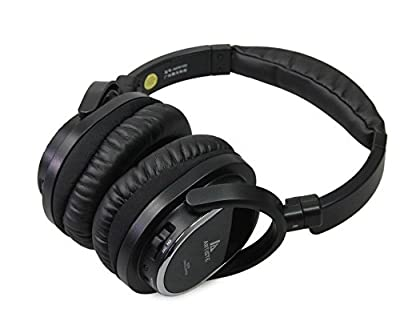Acoustic Noise Cancelling Headphone,artiste On-ear/Over Ear Foldable Noise isolation Airline Headset Headphones (Black-Wired)with Airline Headphone Converter