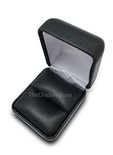 The Display Guys~ Deluxe Black Leather leatherette Metal Gift Ring Box, Jewelry Presentation Case Display Metal Hinge, Comes With Two Piece Packer (2 1/8x1 7/8x1 1/2 Inches) (Gift Leather Display Box)