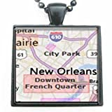 New Orleans Louisiana Map Glass Black Tile Pendant Necklace with Black Chain