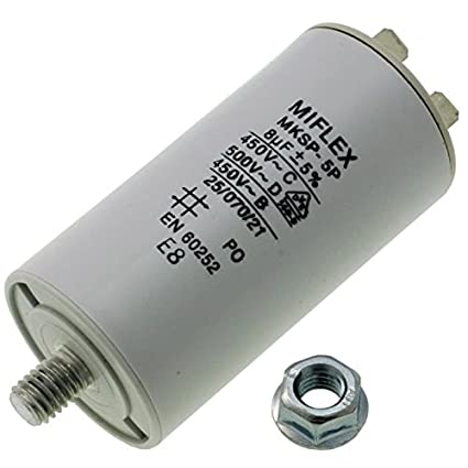 Start-up capacitor motor capacitor 45/μF 450V 45x119 mm connector Miflex; 45uF