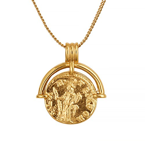 ACC PLANET Coin Necklace 18K Gold Plated Vintage Coin Pendant Gold Necklace for Women ()