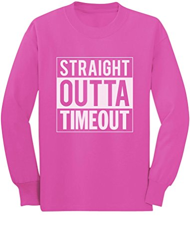 TeeStars - Straight Outta Timeout Funny Toddler/Kids Long Sleeve T-Shirt 3T Pink