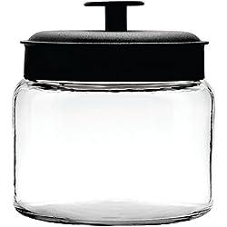 Anchor Hocking Mini Montana Jar with Handled Black Aluminum Lid, 64 Ounce