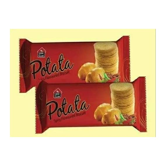 PRAN POTATA Spicy Flavoured Biscuits 4 Packs of 100 Grams Each