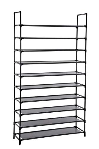 (SONGMICS 10-Tier Shoe Rack, Non-Woven Fabric Shoe Storage, Shoe Organizer, Holds 50 Pairs of Shoes, for Living Room, Cloakroom, Hallway, 39.4