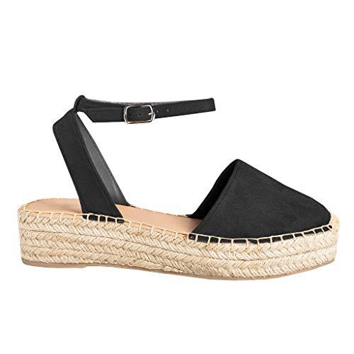 FISACE Womens Cute Espadrille Ankle Braid Strap Sandals Slingback Cap Toe Platform Wedge Shoes ZZZZ-Black, 7 M US