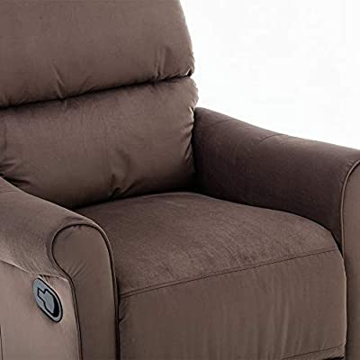 Bonzy Home Manual Recliner,Comfortable Scroll Arm Durable Lazy Home Theater Seating - Bedroom & Living Room Recliner Sofa Chair,Brown