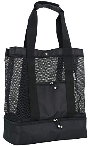 For Sale! QOGiR Mesh Beach Bag Tote with Insulated Picnic Cooler Bottom - Large, Durable and Light W...