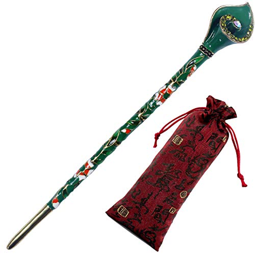 Pavaruni Traditional Gorgeous Chinese Cloisonne Hairpin, Rose Flower Retro Vintage Cultural Designed Enameled Jewelry, Cloisonné (Calla Lily Green(Hairpin)) ()