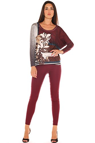 Lucido Leggings di Super Raso Key In Stretch Bordeaux 6vIdwxq