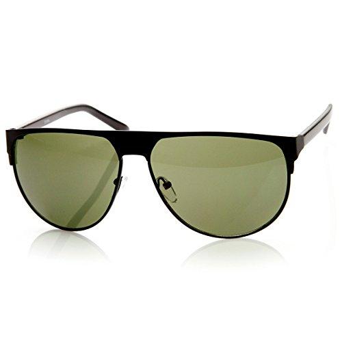 zeroUV - Modern Fashion Large Metal Frame Flat Top Aviator Sunglasses