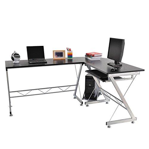 HomCom A2-0018 L-Shaped Corner Computer Desk Laptop Desktop PC Table Workstation Stand Home Office Furniture