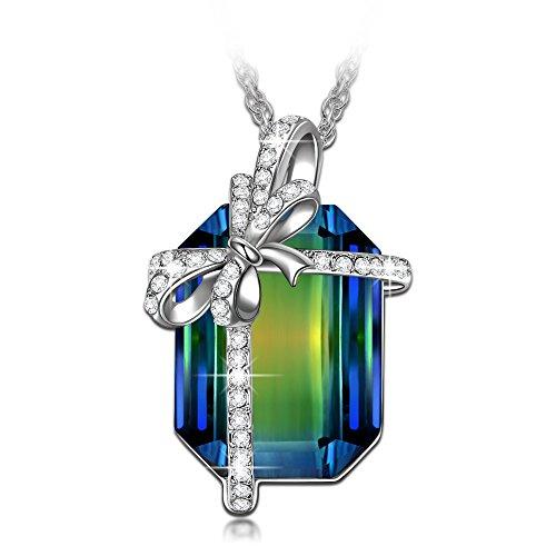 LadyColour 'Gift of Poseidon' Swarovski Crystals Pendant Necklace Silver Tone Jewelry for Women