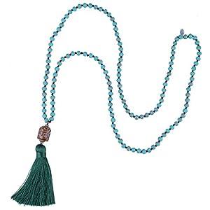 KELITCH Collares Pendientes De Piedra Natural Collar De Borlas De Colores Collar De Cuentas De Cristal | DeHippies.com