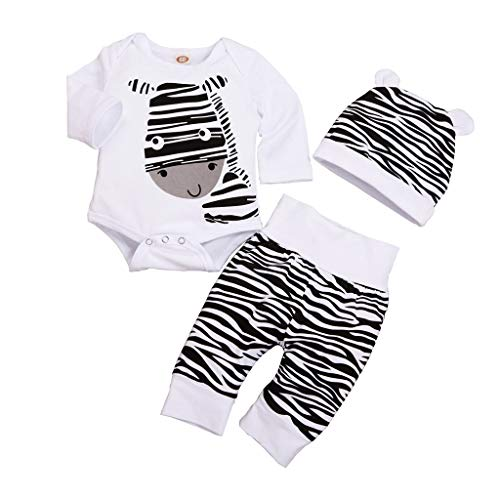 Feitengtd Newborn Infant Baby Boys Girls Cartoon Zebra Print Tops Pants Hat Outfits Set White ()