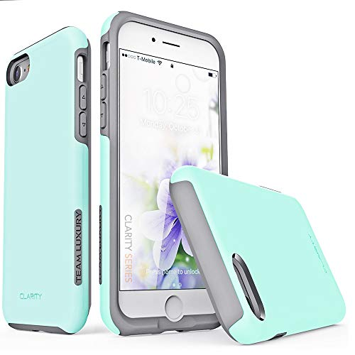 TEAM LUXURY iPhone 7 Case/iPhone 8 Case, [Clarity Series] Updated G-II Ultra Defender TPU + PC [Shock Absorbent] Premium Protective Phone Case -for Apple iPhone 7 & 8 (4.7 Inch) (Soft Mint/Gray)