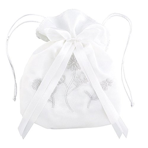 - White Satin First Communion Drawstring Purse with Embroidered Flowers and Bow, 7 Inch