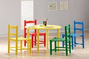 5pc Children Multi-Color Wood Table & Chairs Set Kid Furniture