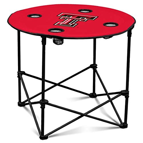(Texas Tech Red Raiders  Collapsible Round Table with 4 Cup Holders and Carry Bag)