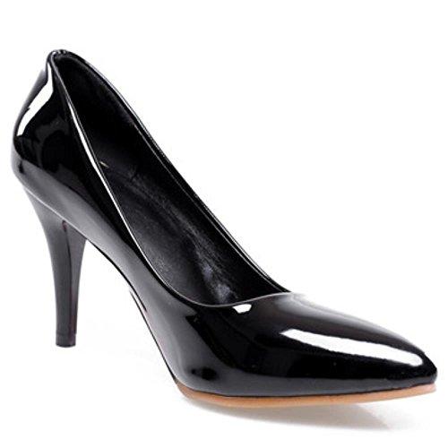 COOLCEPT Mujer Moda Tacon de Aguja Tacon Alto Basico Trabajo Boca Baja Zapatos Extra Tamano Negro
