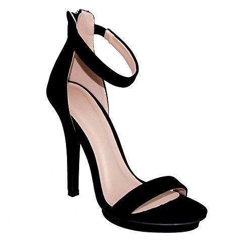 Women's nubuck Diva Wild Black Strap Amy Heel 01 Open Sandals Toe Ankle High 5OTx6HTnw7