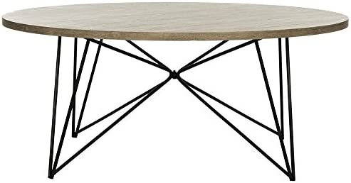 Safavieh Home Collection Maris Modern Light Brown Round Hairpin Leg Coffee Table