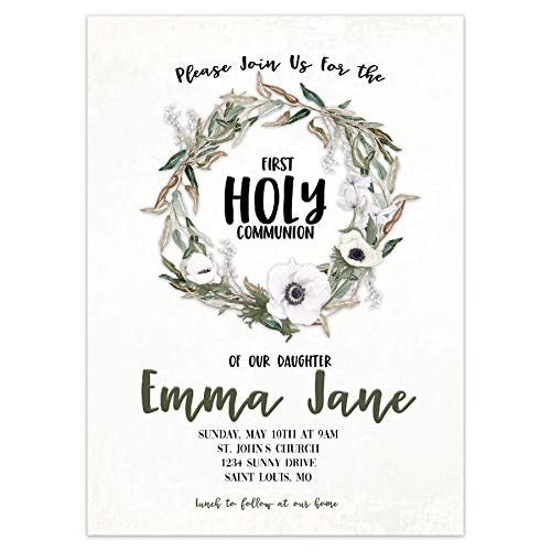 Religious Party Invitation, Baptism, First Communion, Confirmation, 5 inches by 7 inches, Envelopes Included with Printed Option, Printed or Digital DIY Party Supplies Invitation Cards