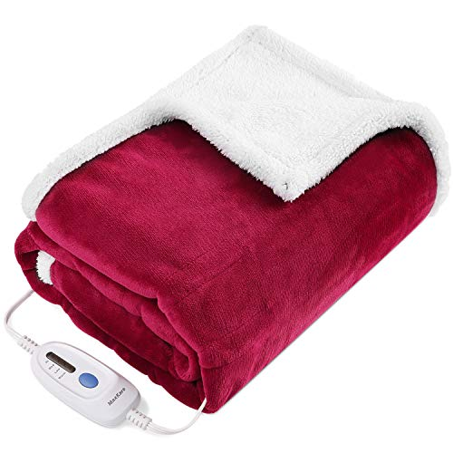 Electric Blanket Heated Throw Fast Heating Blanket Flannel & Sherpa