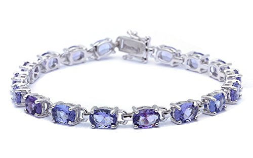(13.5CT Oval Cut Simulated Tanzanite .925 Sterling Silver Bracelet)