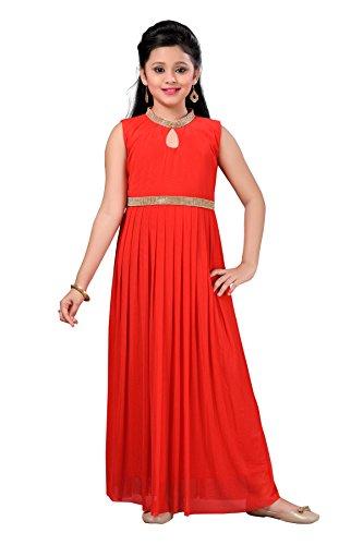 Aarika Girl's Self Design Net Fabric Party Wear Ball Gown (G-6250-RED_36_13-14 Years) by Aarika