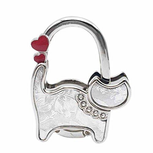 Hot Sale!DEESEE(TM)Mini Cute Cat Folding Hanger Holder Table Hook For Purse Handbag Utility (L)